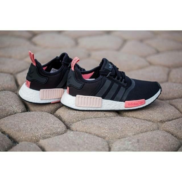3164acb73df57 Jual Sepatu Adidas NMD R1 Black Peach Pink Women Premium Quality ...