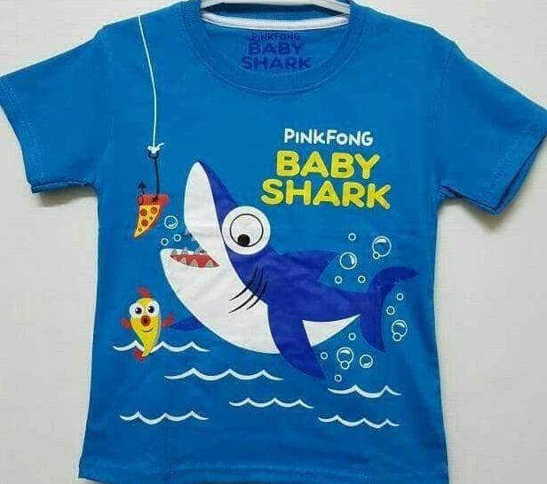 Jual OBRAL!!! KAOS ANAK SIZE 1-6 BABY SHARK PINKFONG BIRU  198cd01001