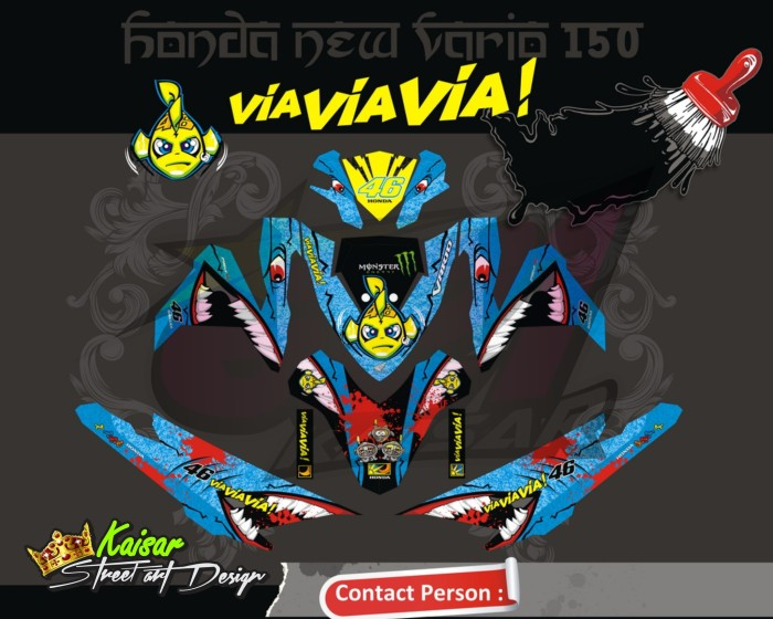 harga Sticker motor aksesoris body motor vario 150 -125 esp hiu Tokopedia.com