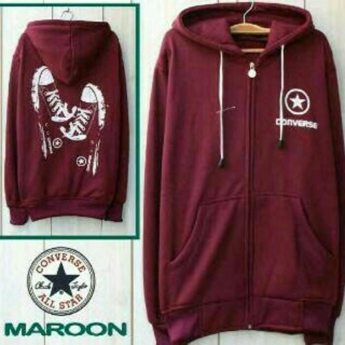 harga Sweater converse shoes maroon, jaket distro pria wanita, hoodie murah Tokopedia.com