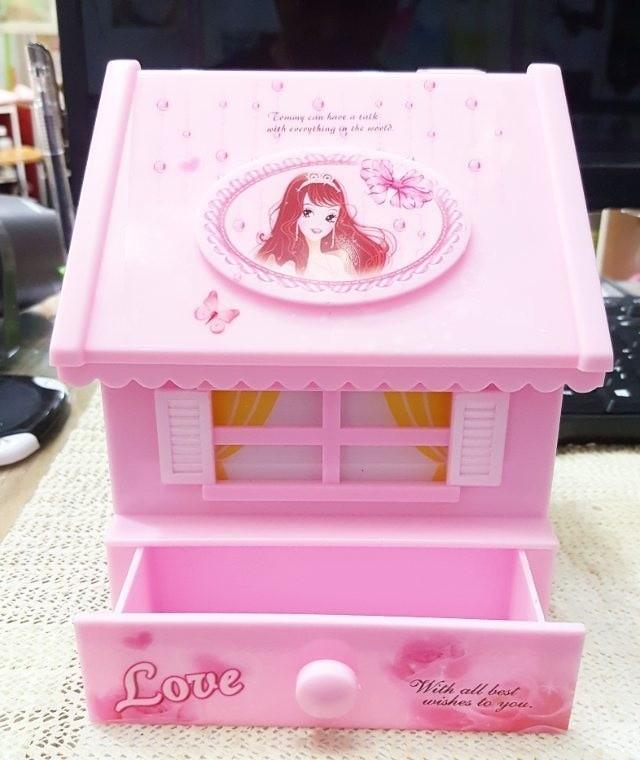 kotak musik rumah house balet ballerina cermin perhiasan music box