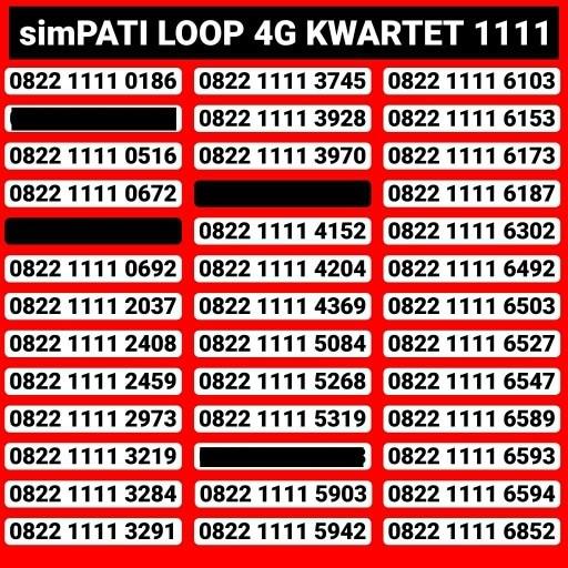 Kartu Perdana Telkomsel Nomor Cantik Simpati Loop seri kuartet 1111