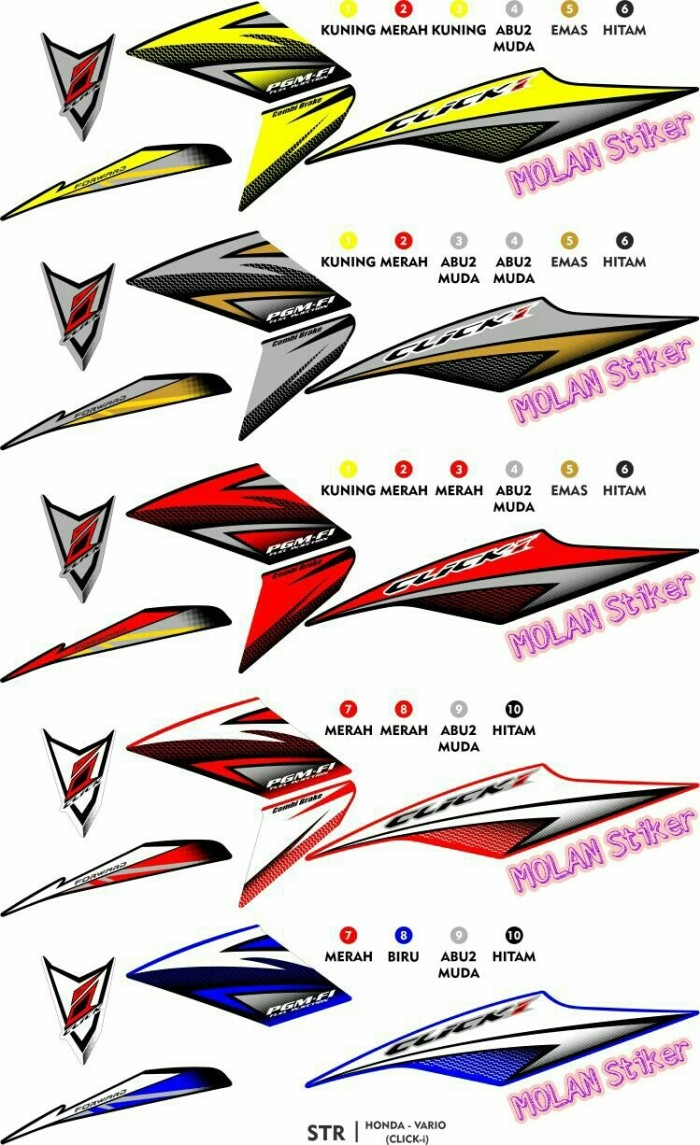 Sticker striping variasi thailand thailook vario 110 cbs techno