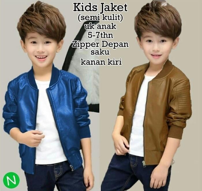jaket kulit anak anak perempuan cowok cewek laki jacket biru coklat 6e4cc1dda0