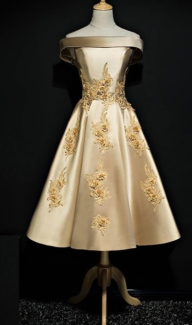 Jual 1711124 Emas Gold Sabrina Gaun Pesta Party Dress Kota Medan