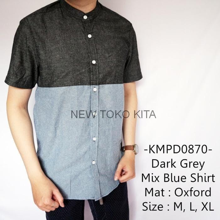 Baju 3099 Kemeja Lengan Panjang Pria Cowok Abu2 Dark Grey Polos Source Baju .