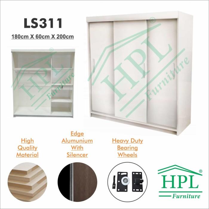 harga Lemari pakaian sliding door 3 pintu hpl - white glossy Tokopedia.com
