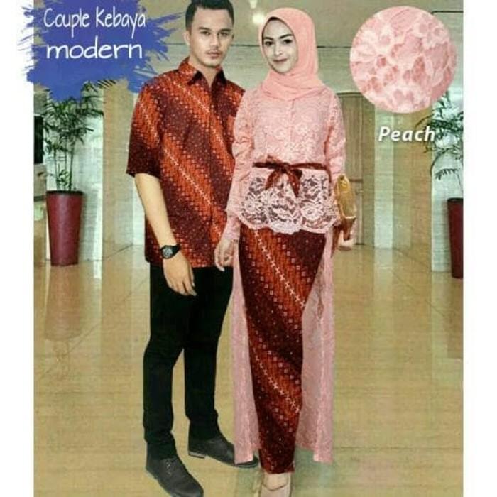 Jual Tm 00021 Couple Kebaya Brukat Hanni Peach Baju Muslim Pasangan Pesta Kota Bandung Gamis Store Collection Tokopedia