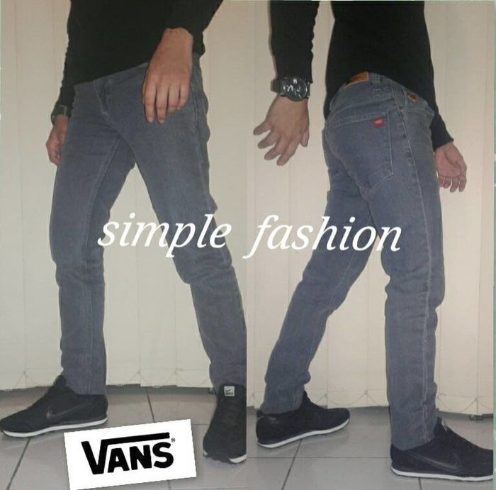 (Diskon) Celana Jeans VANS Skinny Grey Soft Jeans