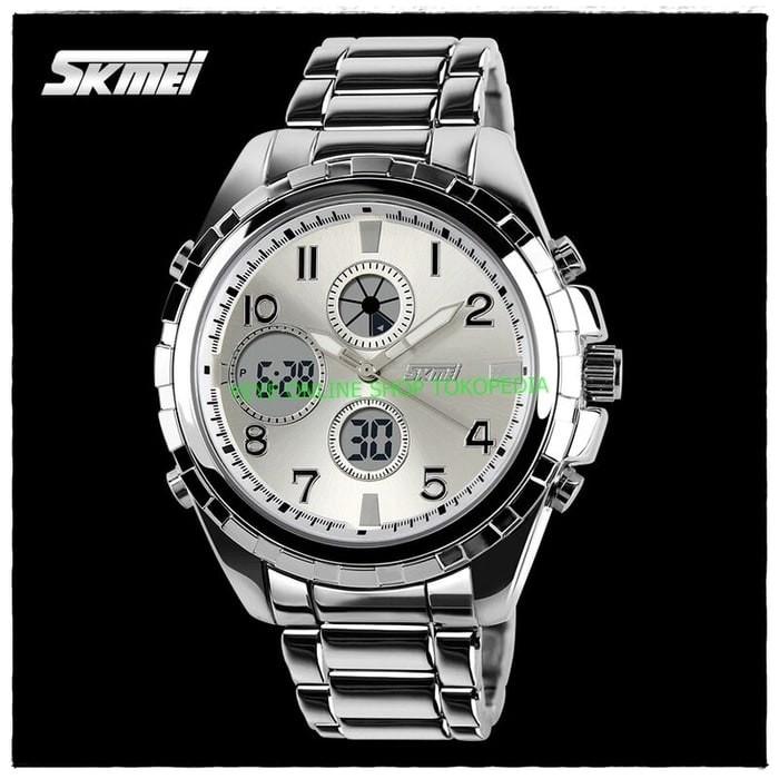 SKMEI Casio Jam tangan pria Sport DUAL TIME LED AD1021 - Silver H471
