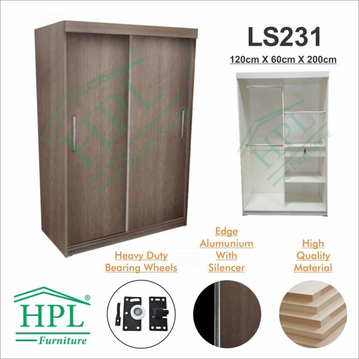 harga Lemari pakaian sliding door 2 pintu hpl-coklat motif kayu ls231 Tokopedia.com