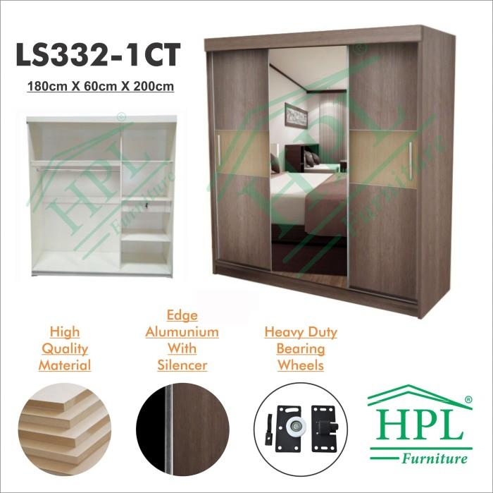harga Lemari pakaian sliding door 3 pintu hpl-coklat kayu strip crm ls332-1c Tokopedia.com