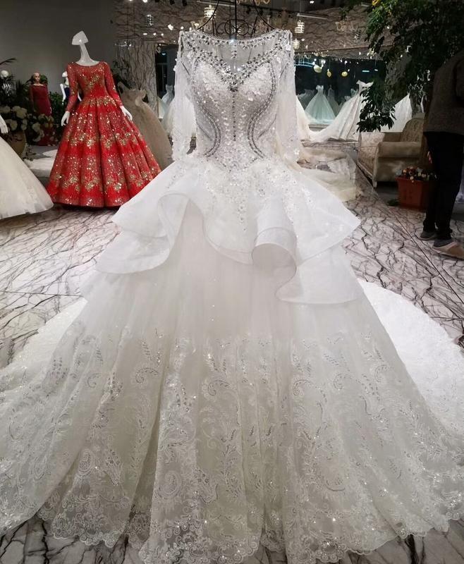 Jual Gaun Pengantin 1711107 Putih Lengan Panjang Ekor Wedding Gown