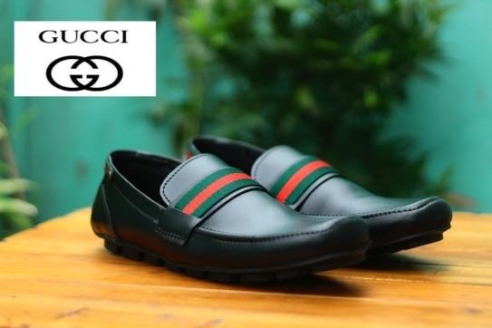sepatu pria casual formal gucci slip on slop loafers pantofel kickers -  Hitam f9e77d8ef3