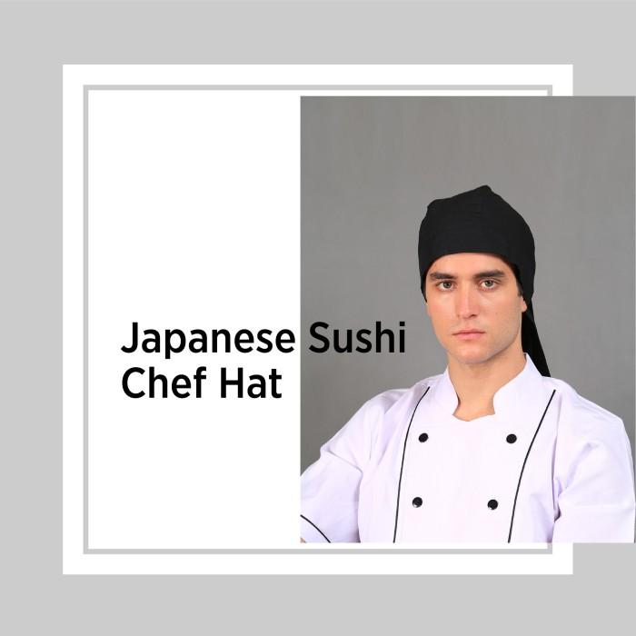 Chef series topi koki tali jepang / japanese sushi chef hat