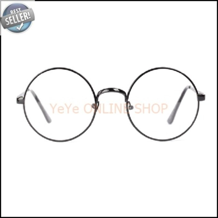 Jual (Dijamin) Kacamata Retro Bulat Nerd Fashion Wanita - Black G502 ... 81777b3263
