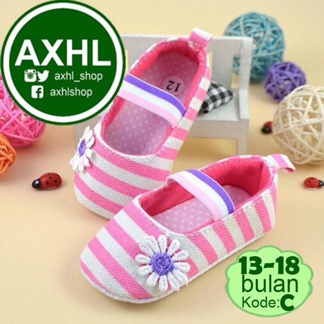 harga Baby girl prewalker flower stripe pink / sepatu bayi perempuan lucu