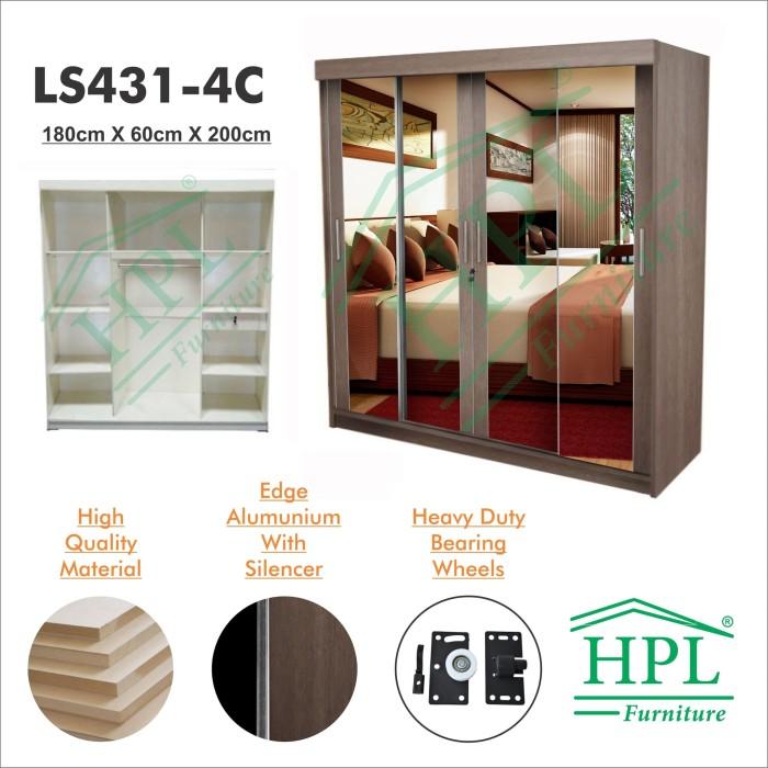 harga Lemari pakaian sliding door 4 pintu hpl-coklat kayu full crm ls431-4c Tokopedia.com