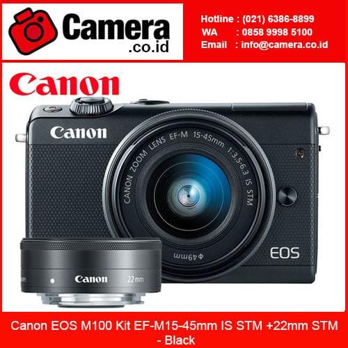 harga Canon eos m100 kit ef-m15-45mm is stm +22mm stm - black - mirrorless Tokopedia.com