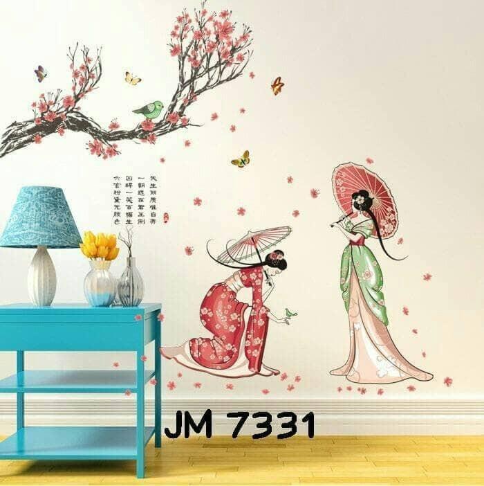 jual wall sticker uk. 60x90cm motif putri jepang - kota malang