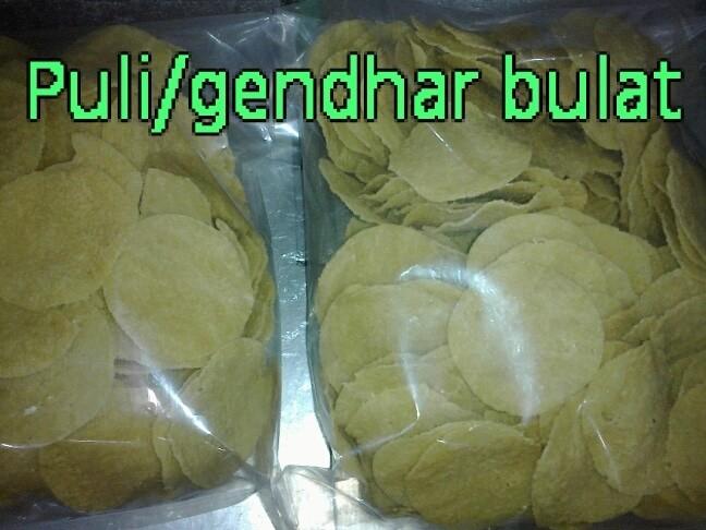 Snack Krupuk puli gendar beras mentah model bulat 500gram