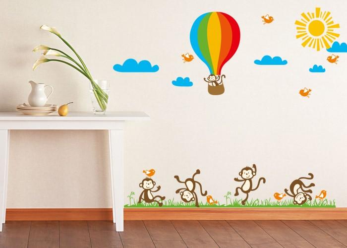 jual stiker dinding / wall sticker dancing monkey jm7121 lucu murah