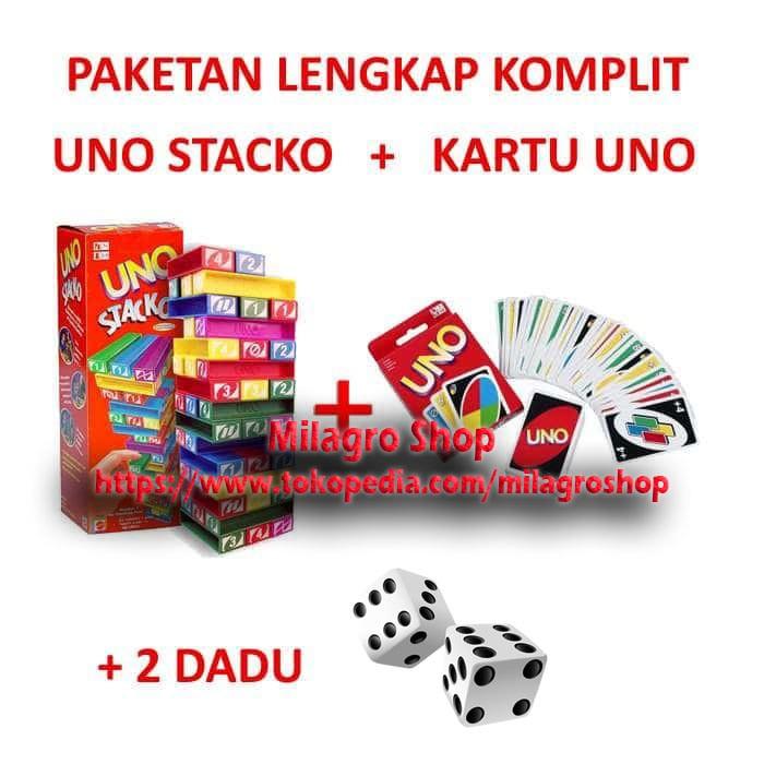 harga Paket uno stacko + kartu uno card + dadu (2 pcs) paketan lengkap Tokopedia.com