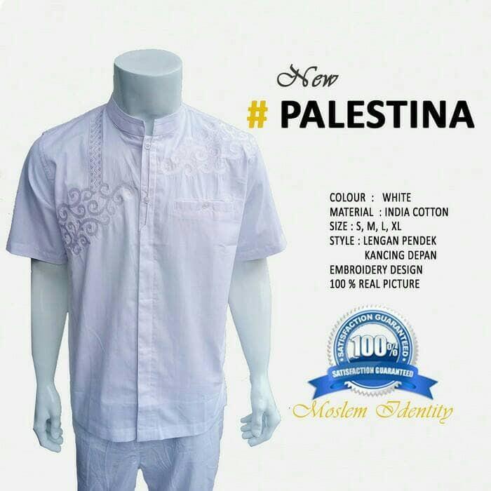 Jual Baju Koko Pendek Koko Katun Baju Muslim Pria Palestina Kaf
