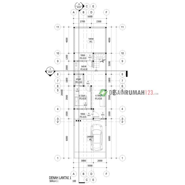 Desain Rumah 5 X 20