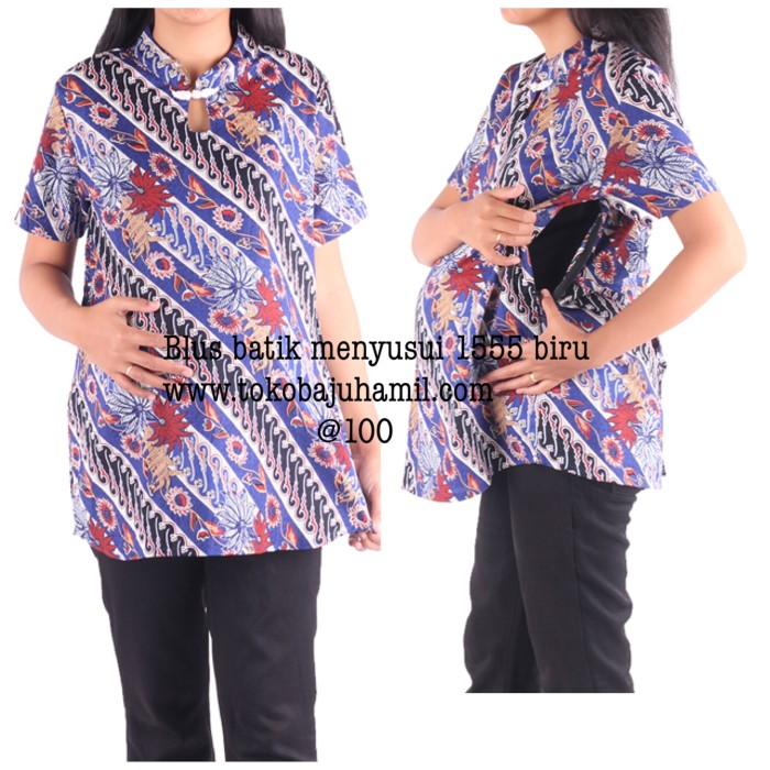 harga Baju hamil batik blus 1555 biru Tokopedia.com