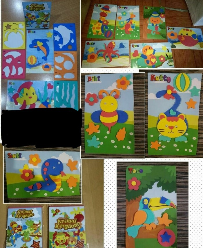 mainan edukasi sticker eva foam diy stiker activity animal kingdom