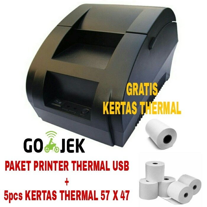 harga Paket usb printer thermal pos + 5pcs kertas thermal 57 x 47 Tokopedia.com