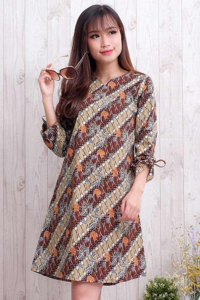 Jual Model Baju Batik Dress Lengan Panjang Model Baju Batik Dress Selutut Dki Jakarta Baju Murah Calvino Tokopedia