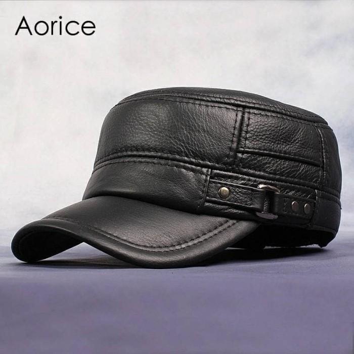 61d852d90d9 Jual Topi Petak Persegi Kulit Pria Cap Style Sport Fashion Leather ...