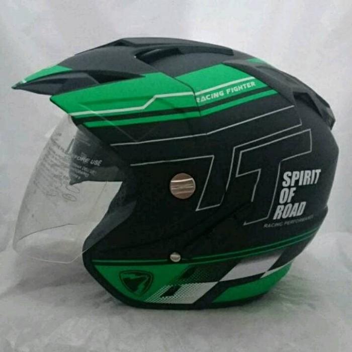 Foto Produk Helm Double Visor Kaca R9 Green Doff dari Like Pro