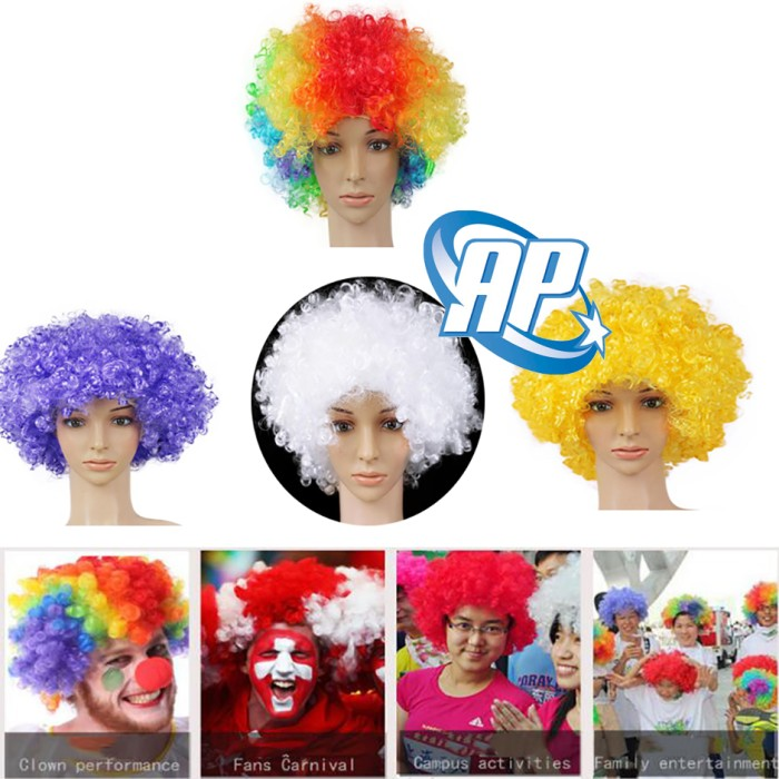 Wig hitam wig kribo Wig Badut Wig Cosplay Rambut Palsu full footwear b3d80 . 640c5d1dd1