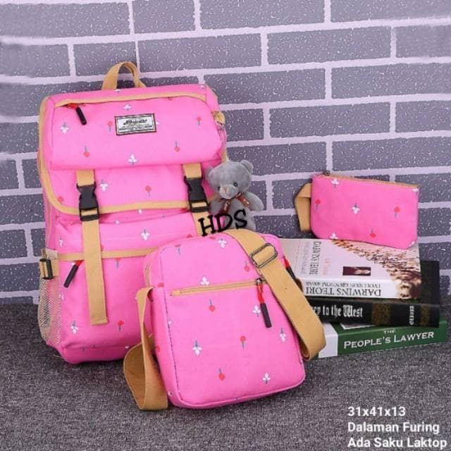 Tas Ransel Backpack Sekolah Kuliah Kerja Laki Cewe Perempuan HD 3in1 1 -  Merah Muda 58863290b6