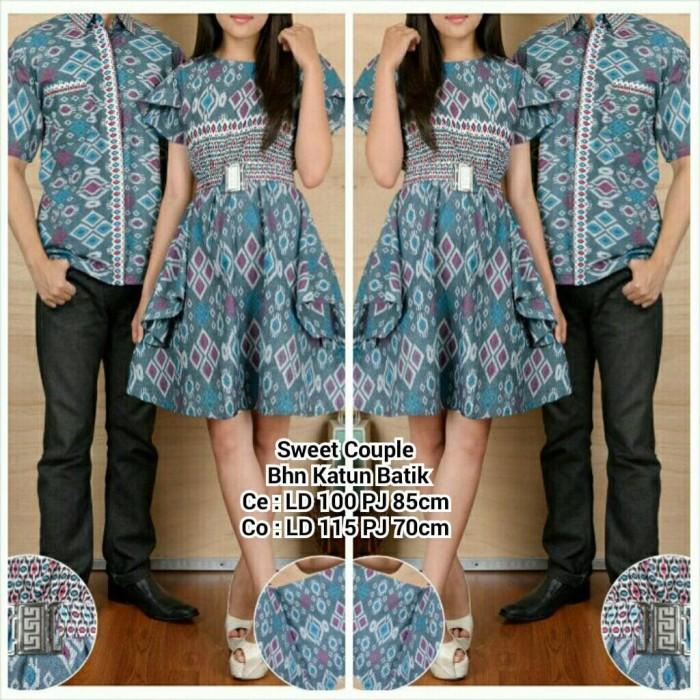 Jual SB Collection Couple Midi Dress Badira Batik dan Kemeja Pria - Biru ec4ba05cfc