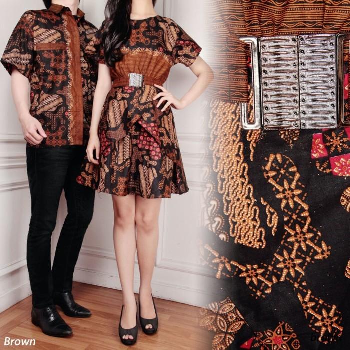 SB Collection Couple Midi Dress Badira Batik dan Kemeja Pria - Cokelat 806465bd40