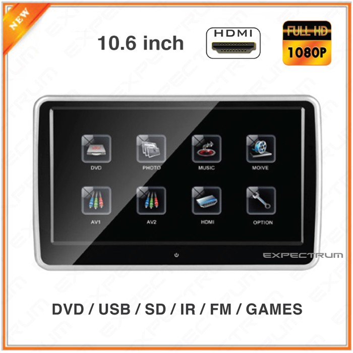 harga Monitor tv headrest mobil 10.6  dvd clip on - touch screen hdmi1080p Tokopedia.com