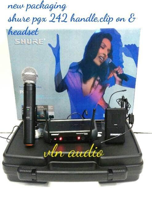 harga Mic wireless shure pgx 242 ( handle + clip on + headset ) Tokopedia.com