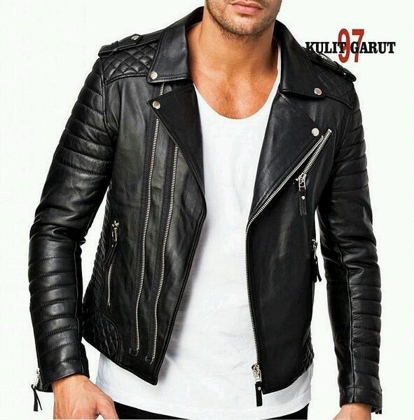 Jaket kulit asli garut kg97 118 slim fit bikers