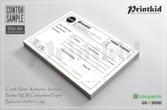 Jual Cetak Notakwitansicontinous Form Ukuran A6 1 Ply Kota Bekasi Printkid Tokopedia