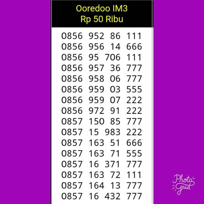 Nomor Cantik Indosat IM3 Seri Triple 111/666/777/222/555 Murah