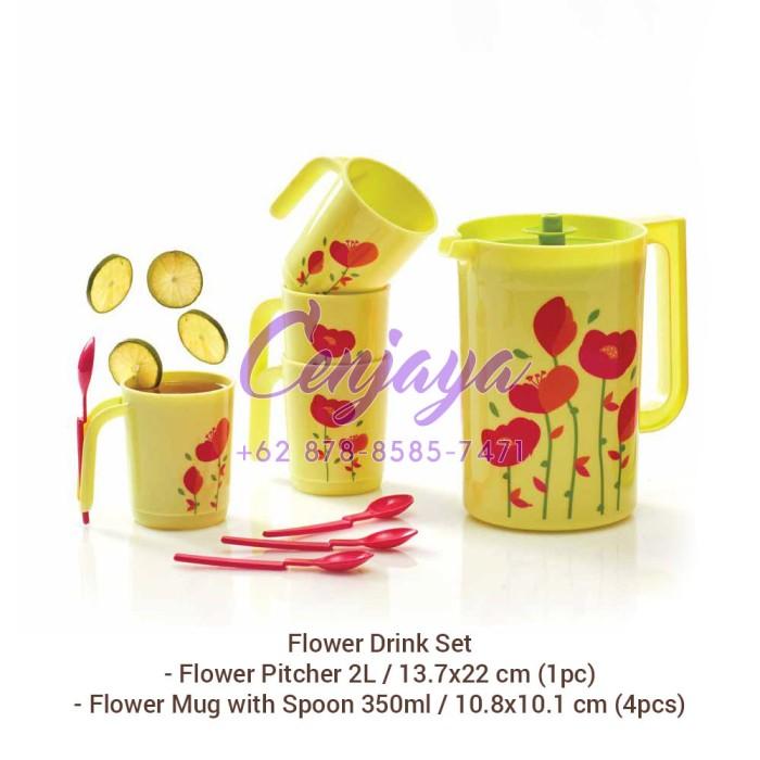 harga Tupperware flower drink set (pitcher dan gelas minum) Tokopedia.com