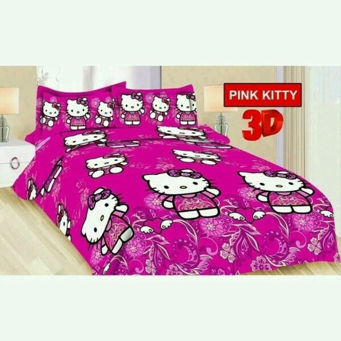 harga Bedcover set fata pink kitty 180x200 & 160x200 king/queen size Tokopedia.com