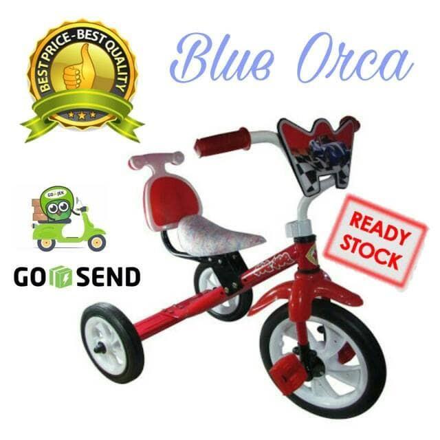 Foto Produk SEPEDA BMX RODA TIGA ANAK TRICYCLE SANDARAN YOE YOE WARNA MERAH - Merah dari Blue Orca