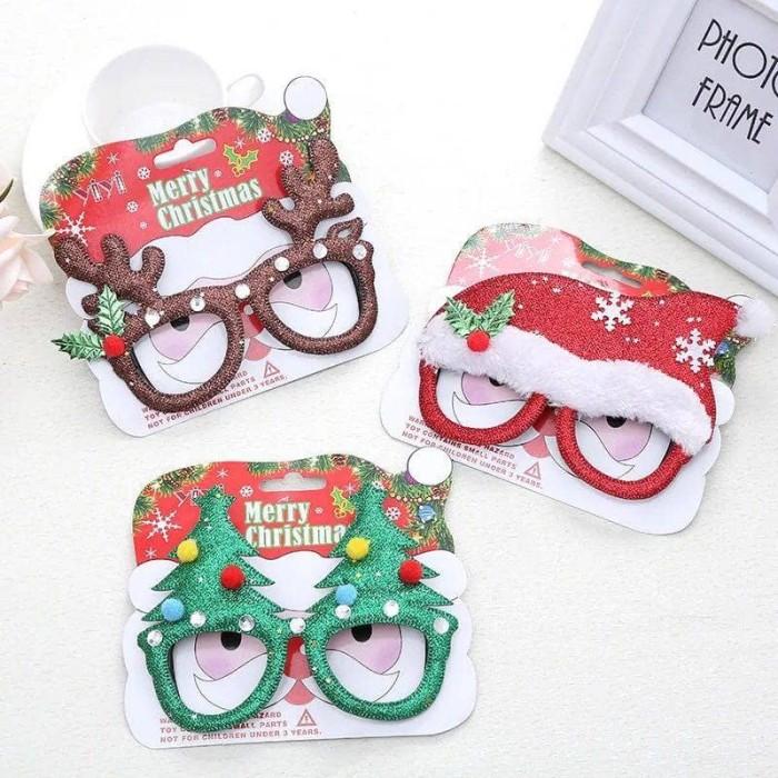 Aksesories kacamata natal santa pohon natal topi santa cosplay pesta