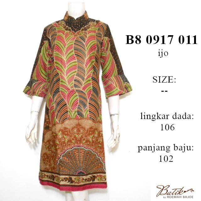 harga Dres batik mot bulu merak b80917011 tunik batik /terusan wanita batik Tokopedia.com