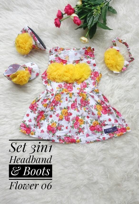 harga Dress polka biru set headband + sepatu boots anak / baby Tokopedia.com